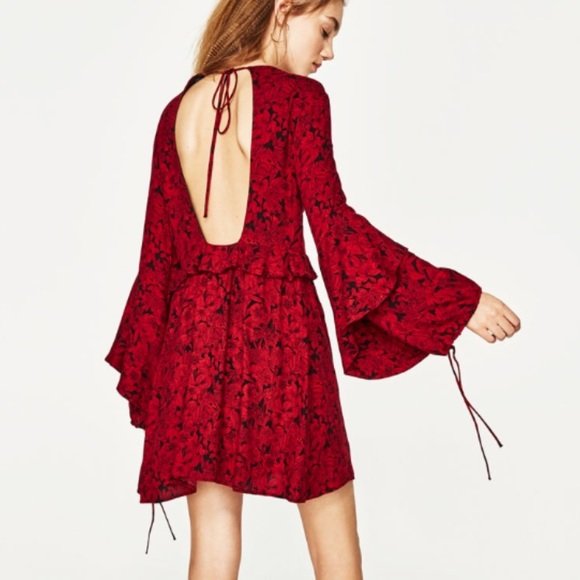 06dac0e45ca NWT Zara red boho open back mini dress